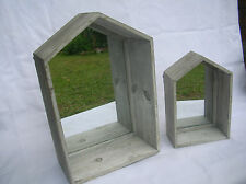 SET OF 2 WOODEN HOUSE WALL DISPLAY SHELF WITH MIRROR