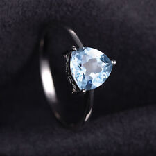 1.5ct Gorgeous Genuine Sky Blue Topaz TrillionSolid Sterling Silver Ring Size 8
