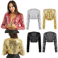 Womens Shiny Long Sleeve Jacket Cropped Blazer Bolero Shrug Coat Blouse Outfits