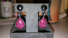 David Yurman Grisaille Chatelaine Triple-Drop Earrings with Ruby and Hematite