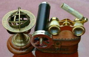 "Brass 7"" Double wheel kaleidoscope with mother of pearl binocular & leather box"