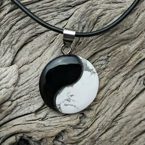 Onyx And White Turquoise Yin Yang Natural Stone Pendant On Black Cord Necklace