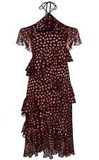 Alice + Olivia Annabeth Off Shoulder Dress Black Red Ruffle Size 6 NWT