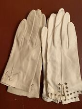 Vintage womens leather gloves size 6 / white / Cream / clothing / 2 pair