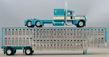 Dcp 1/64 Turquoise Cream Peterbilt 389 Wilson Cattle Livestock Trailer 60-0937