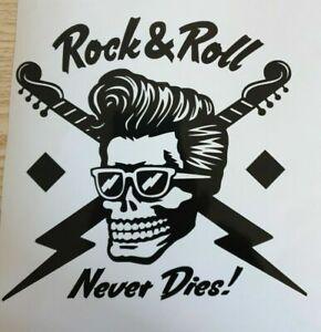 1x Rockabilly Rock Roll Teddy Skull Car Van Vinyl Sticker Decal Graphic 6x6in
