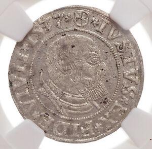 PRUSSIA. Albrecht von Brandenburg, Silver Grosch, 1542, NGC AU58