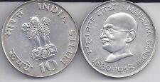 MAHATMA GANDHI SILVER COIN 1969-1948 REPUBLIC INDIA TEN RUPEES 10 RS