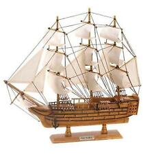 Collectible HMS Victory Ship Schooner Model 19 Inches Wood and Canvas Art