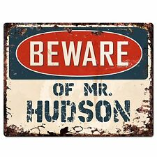 PP2615 Beware of MR. HUDSON Plate Chic Sign Home Store Wall Decor Funny Gift