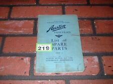 GENUINE AUSTIN TWELVE SIX  ILLUSTRATED SPARE PARTS BOOK. 1931