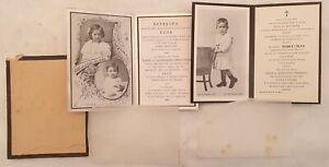 LOTTO DUE SANTINI FUNEBRI SANTINO FUNEBRE ESTERINA ELDA BRUNO MENEGHINI 1910