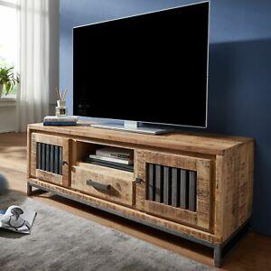 FineBuy HiFi Lowboard Mango Massivholz TV Kommode 133cm Fernsehschrank TV-Board