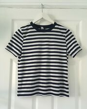 TOPSHOP FITTED WHITE and NAVY STRIPPED TOP/T-SHIRT - UK 10