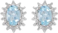 14k White Gold Oval Aquamarine And Diamond Earrings (CM-E1342XW-03)