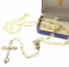 Imitiation pearl heart shaped large rosary beads with grapes crucifix in box