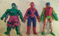"VTG 1974 MEGO WGSH ~SPIDERMAN/ROBIN/ HULK~ 8"" FIGURE LOT MARVEL/DC INCOMPLETE"