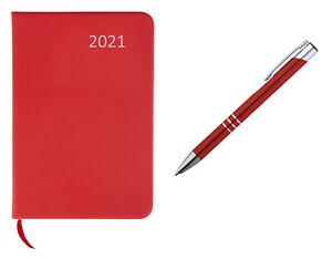 Taschenkalender 2021 / ca A7 / PU Einband / Farbe: rot + Metall Kugelschreiber