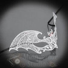 Womens Devilish Bat Laser-Cut Filigree Metal Halloween Masquerade Mask [White]