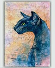 Oriental Black cat art print large from original painting by Suzanne Le Good