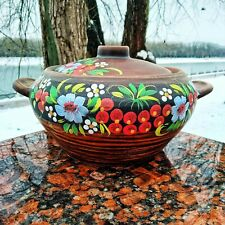 Ceramic casserole with handles, ecologically clean products. Pottery handmade