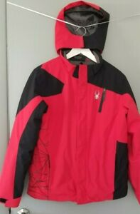 Spyder Coat Boys 20 Red Black Removable Hood Insulated Winter Jacket READ* N37