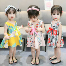 Toddler Baby Kids Girls Sleeveless Floral Leaf Print Bow Dresses Casual Clothes