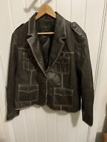 Next Womens 100% Leather Brown Womens Jacket Size Uk 20