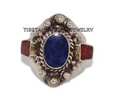 Adjustable Lapis Ring Boho ring Coral ring Tibetan ring Tibet Ring RB13
