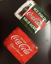 COKE Coca Cola Sold-Ricarica Bottiglia Vintage In Metallo Muro Segno (Set di 2) 15X20 cm