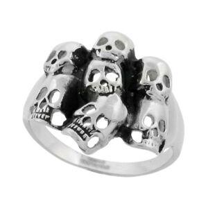 Stainless Steel Biker 7 Skull Ring Yard