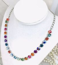 BRIGHT RAINBOW Cup Chain Tennis Necklace made with Vibrant Swarovski Crystals