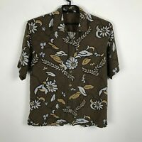 Tommy Bahama Hawaiian Shirt Size L Brown Floral Silk Aloha Short Sleeve Mens