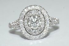 Exquisite Neil Lane 14ct White Gold 1.13ct Oval Cut Diamond Halo Ring Size I-J