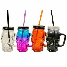 Spooky Halloween Glass Skull Jar With Handle Coloured Drinking Straw Lid Party