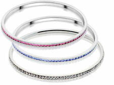 Stainless Steel 1 Row Bangle Bracelet Made With Swarovski Crystal Elements UK