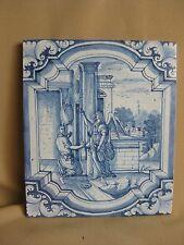 LARGE ANTIQUE 19TH C DUTCH DELFT BIBLICAL TILE