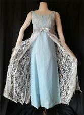 BEAUTIFUL BLUE & WHITE LACE Vintage 1960s MAXI COLUMN Formal DRESS GOWN - SM