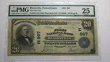 $20 1902 Blairsville Pennsylvania PA National Currency Bank Note Bill Ch #867 VF