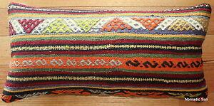 (35*70cm, 14*27cm) Boho handwoven kilim cushion cover stripes motifs tribal 3