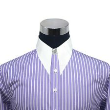 Spearpoint collar Mens shirt Lilac Purple stripes 1930s Vintage Classic WWII Men