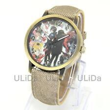 Japanese Animation Comics Casual Men Women Denim Leather Wrist Watches Unisex
