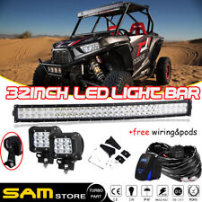 30 32 Inch Curved Led Work Light Bar Wiring Harness Kit For Off Rord Polaris RZR