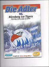 DEL PLAY OFF FINALE Programm: MANNHEIM ADLER - NÜRNBERG ICE TIGERS 25.04.1999