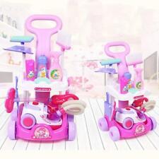 Lonabr Kids Cleaning Set Pretend Play Toys Vacuum Cleaner Playset Trolley Cart