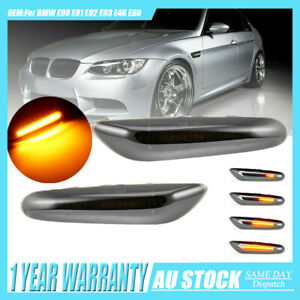 1 Pair For BMW E90 E92 E60 LED Turn Signal Lights Dynamic Smoked Side Indicator