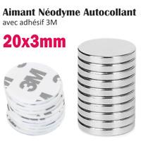 Lot Aimant Néodyme +Autocollant Adhesif 3M Neodymium Adhesive Magnet Pad 20x3mm