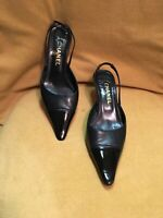 Chanel Slingback  Black Leather And Patent Leather Toe US Size 8 EUR 37.5 UK 6