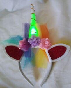 Light Up LED Unicorn Headband Multi Flashing Color-Party Favor Halloween costume