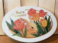 Sees Candy Easter Bunny Tin Metal Oval 1995 Empty Pre Owned